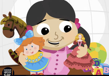 Girl playing with dolls and toys - vector #180887 gratis