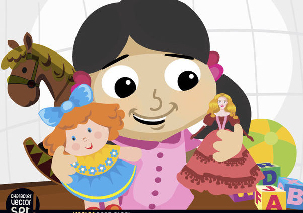 Girl playing with dolls and toys - Free vector #180887