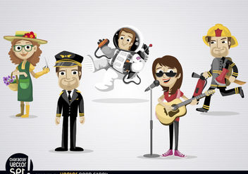 Cartoon characters with different professions - Free vector #180907
