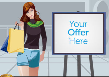 Shopping girl beside promo screen - Free vector #180927