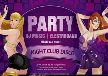 Nightclub disco party girls flyer - Free vector #180977