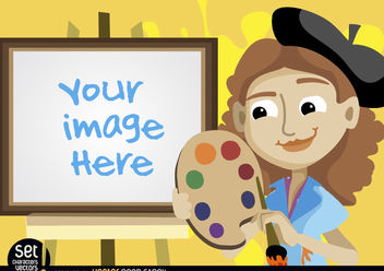 Painter girl with easel image - Free vector #180987