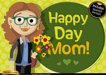 Happy day mom cartoon - Free vector #181027