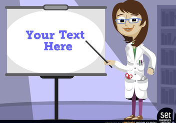 Female professor pointing presentation screen - vector #181047 gratis