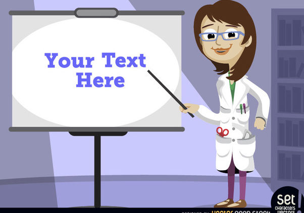 Female professor pointing presentation screen - Free vector #181047