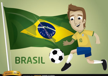 Brasil football cartoon player flag - vector gratuit #181067