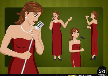 Female Singer Cartoon Character - бесплатный vector #181107