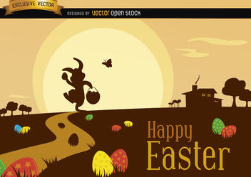 Easter Scene with Silhouette Landscape - Kostenloses vector #181117