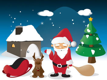 Cartoon Christmas Scene Illustration - Free vector #181137