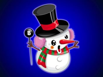 Cute Happy Snowman Cartoon - vector gratuit #181147