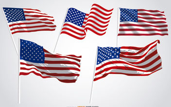 5 United States waving flags - vector #181177 gratis