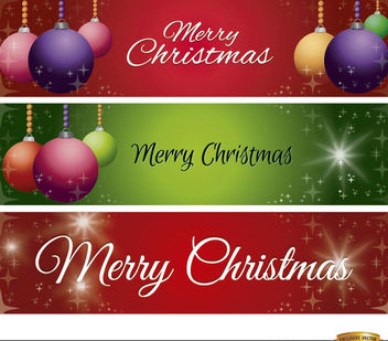 3 Christmas balls glitters banners - Free vector #181197