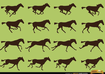 Horse galloping motion sequence silhouettes - Free vector #181257