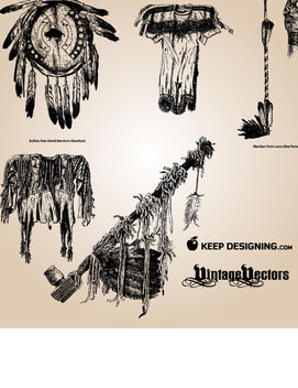 Vintage Native American Object Pack - Free vector #181317