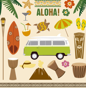 Hawaii Elements Tiki Aloha Vector Set - Free vector #181557