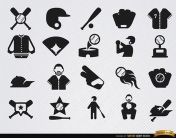 20 Baseball flat icons set - Free vector #181627
