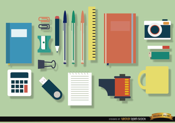 Office objects icon set - Free vector #181647