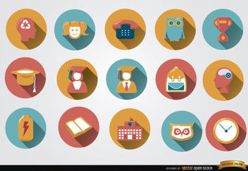 15 Colorful academic round icons - Kostenloses vector #181677