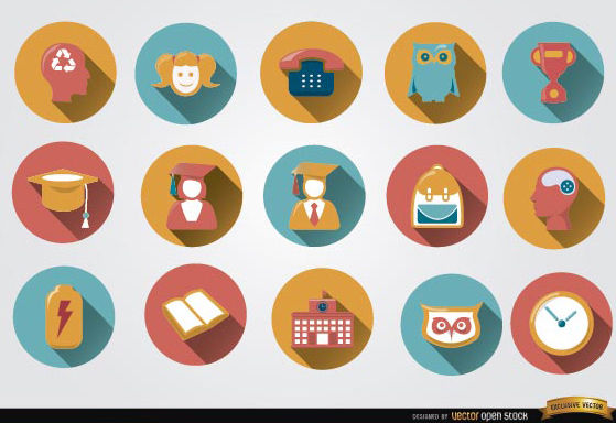 15 Colorful academic round icons - vector gratuit #181677
