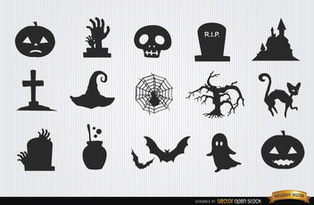 Halloween horror objects icon pack - Free vector #181697