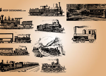 Grungy Vintage Train Pack - Free vector #181817