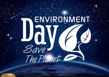 Environment day planet earth from space - Free vector #181907