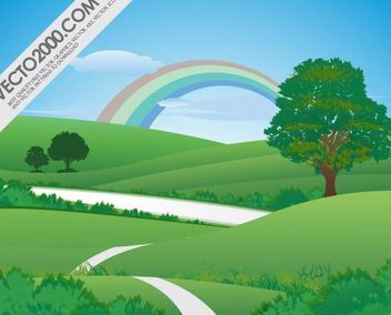 Pure Green Landscape with Rainbow - бесплатный vector #181917