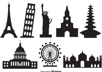 Famous World Monument Pack Silhouette - vector gratuit #181947