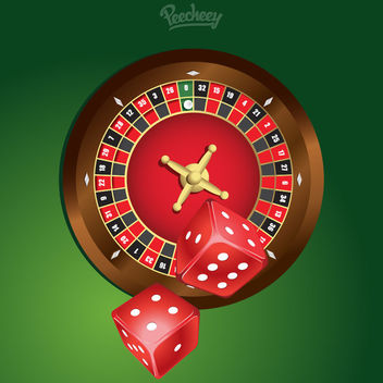 Glossy Casino Roulette with Dices - vector gratuit #181987