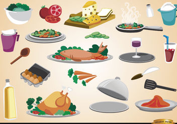 Food, drinks, ingredients and kitchen utensils - vector gratuit #182037