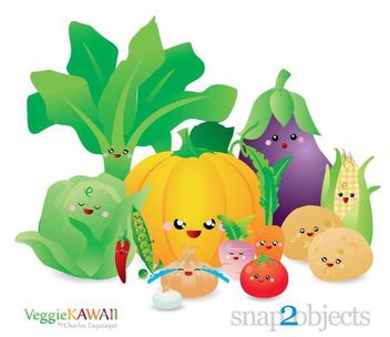 Fresh Kawai Vegetable Pack - Free vector #182057