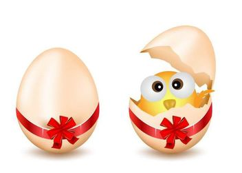 Broken Egg with Chick Inside - Free vector #182087