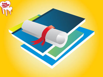 3D Piled Books and Scrolled Paper - Free vector #182137