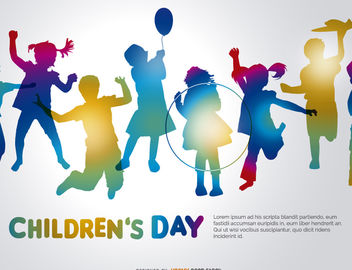 Children's day colorful silhouettes - Kostenloses vector #182187
