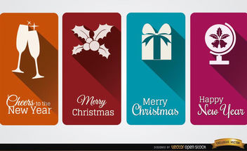4 Christmas celebration vertical cards - бесплатный vector #182207