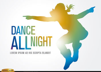 Colored silhouette jump dancing - Free vector #182227