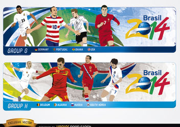 Headers with groups G H Brazil 2014 - бесплатный vector #182277