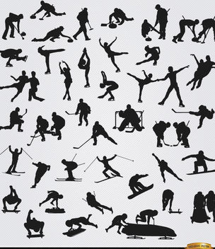 40 Winter sports silhouettes - Free vector #182317