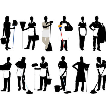 Black & White Silhouette Cleaner Profession Pack - vector gratuit #182327