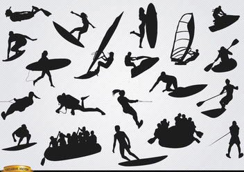 On Water sports silhouettes set - Free vector #182337