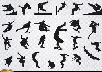 Parkour and skateboarding silhouettes - Free vector #182347