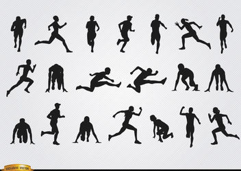 Athletes silhouettes set - Free vector #182377