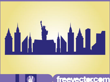 New York Skyline Silhouette - vector gratuit #182427
