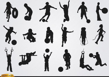 Kids playing silhouettes set - vector gratuit #182477