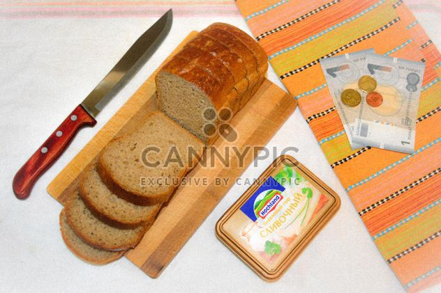 Bread, box of cheese and money - Free image #182797