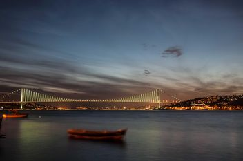 View of Bosphorus bridge at night Istanbul - бесплатный image #183027