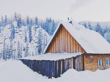 Wooden house covered with snow - image #184007 gratis