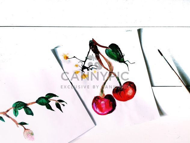 Cherries drawn on white paper - image gratuit #184247
