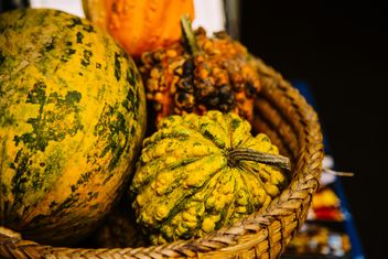 Close-up of pumpkins in basket - image gratuit #186187