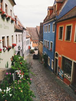 Colored house in street - Free image #186227